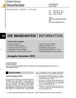 Mandanten-Information Dezember 2012