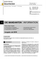 Mandanten-Information Juli 2019